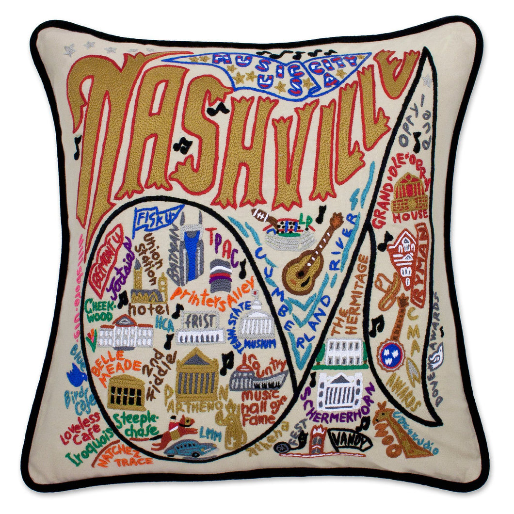 Nashville Hand-Embroidered Pillow - catstudio