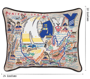Navy Embroidered Pillow - catstudio