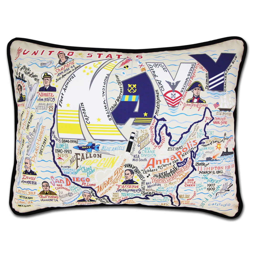 Navy Printed Pillow Pillow catstudio