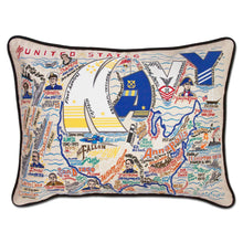 Load image into Gallery viewer, Navy XL Hand-Embroidered Pillow - catstudio