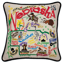 Load image into Gallery viewer, Nebraska Hand-Embroidered Pillow - catstudio