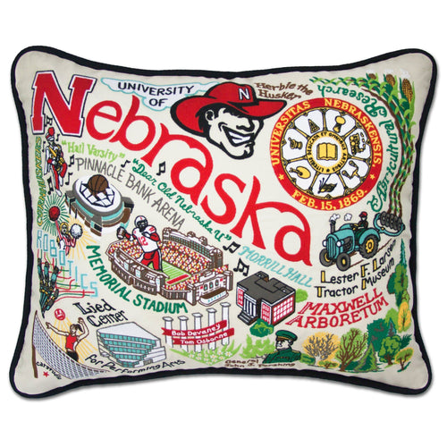 Nebraska, University of Collegiate Embroidered Pillow Pillow catstudio