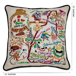 New Hampshire Hand-Embroidered Pillow - catstudio