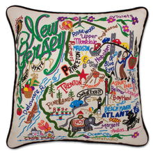 Load image into Gallery viewer, New Jersey Hand-Embroidered Pillow Pillow catstudio