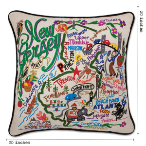 New Jersey Hand-Embroidered Pillow - catstudio