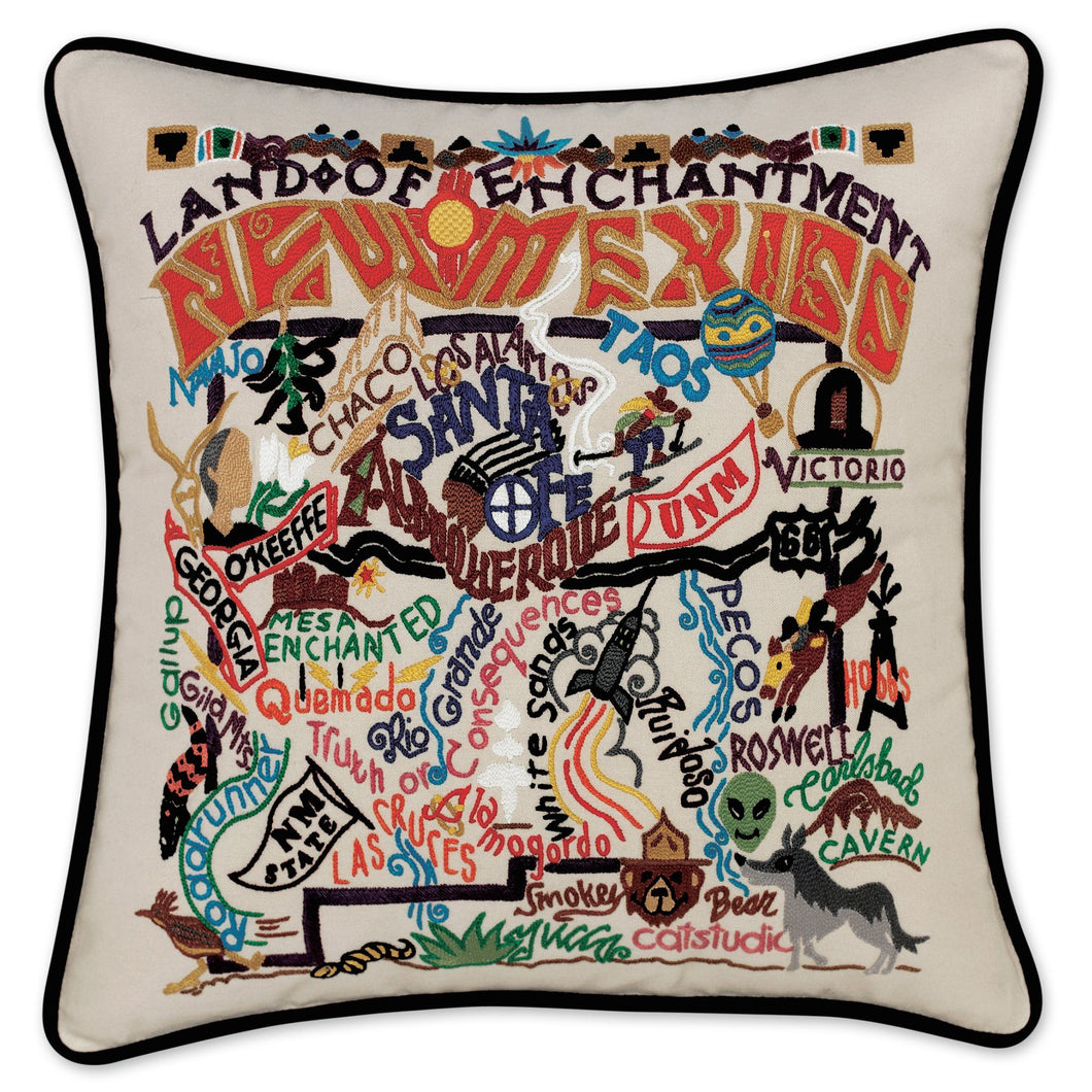 New Mexico Hand-Embroidered Pillow - catstudio