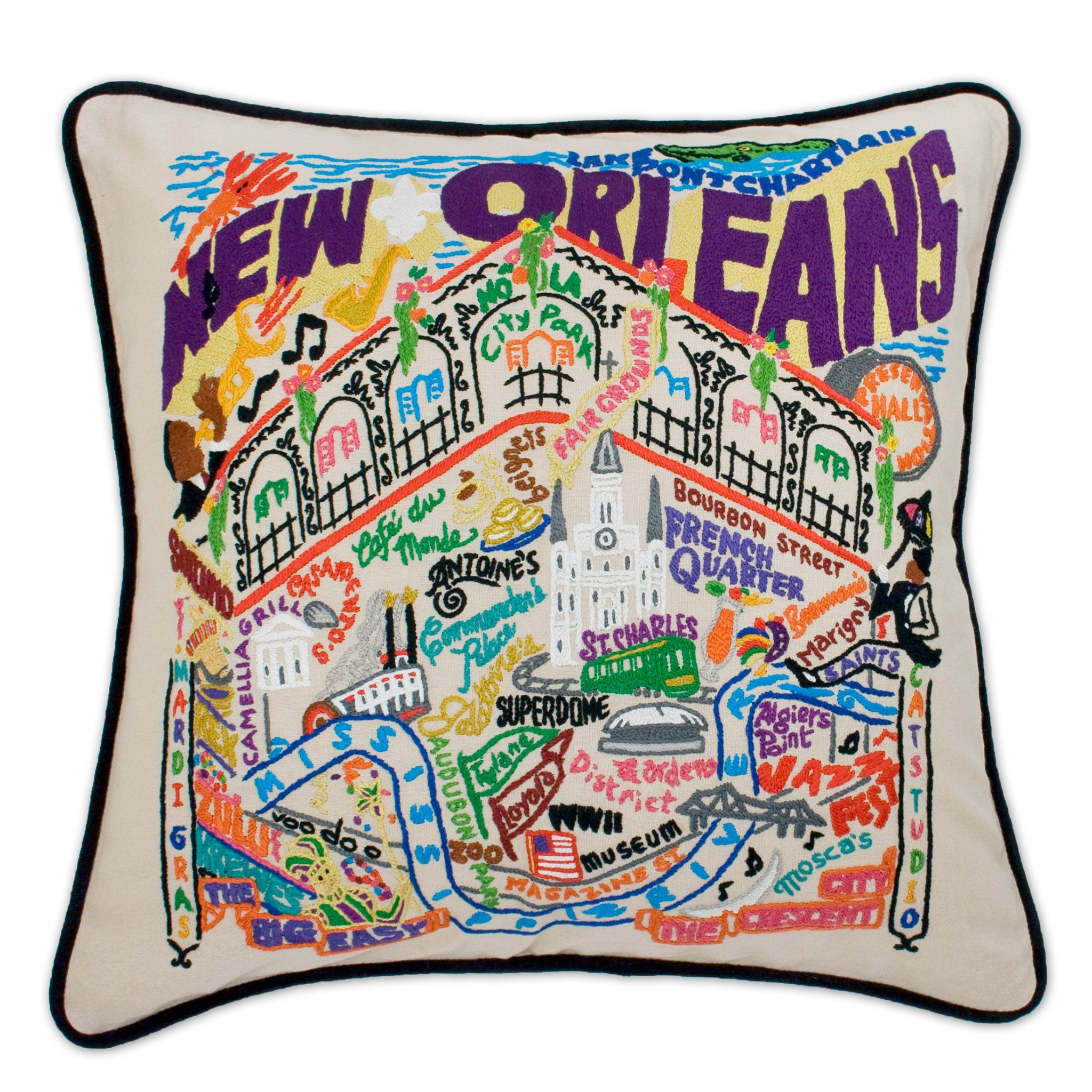 New Orleans Hand Embroidered Pillow Louisiana Collection By Catstudio Catstudio