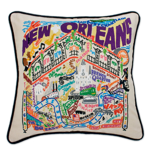 New Orleans Hand-Embroidered Pillow Pillow catstudio