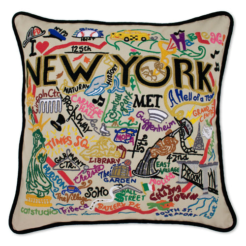 New York City Hand-Embroidered Pillow - catstudio