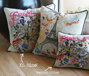 New York State XL Hand-Embroidered Pillow - catstudio