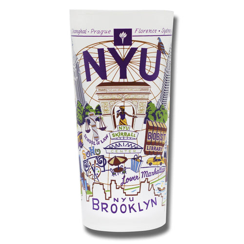 New York University (NYU) Collegiate Drinking Glass - catstudio