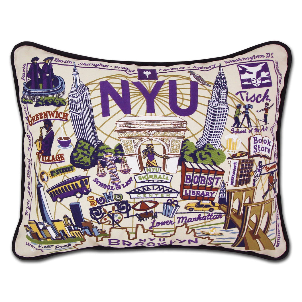 New York University (NYU) Collegiate Embroidered Pillow - catstudio