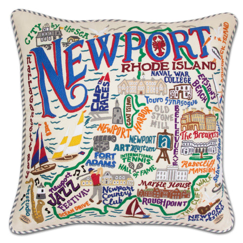 Newport Hand-Embroidered Pillow - catstudio