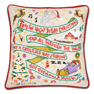 Night Before Christmas Hand-Embroidered Pillow - catstudio