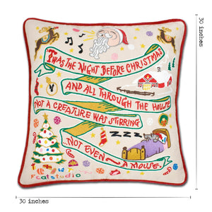 Night Before Christmas XL Hand-Embroidered Pillow - catstudio