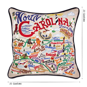 North Carolina Hand-Embroidered Pillow - catstudio