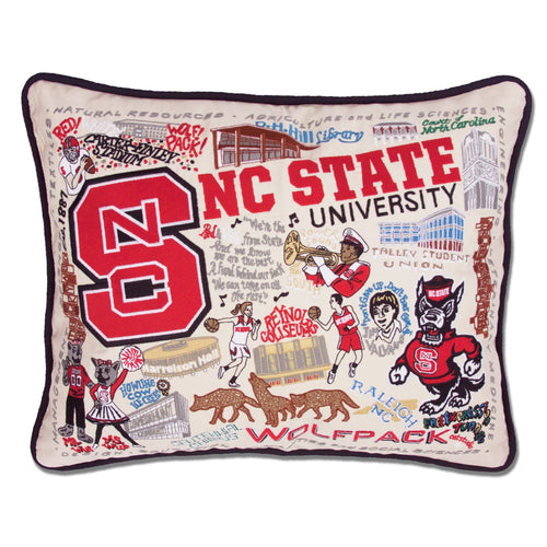 North Carolina State University Collegiate Embroidered Pillow - catstudio