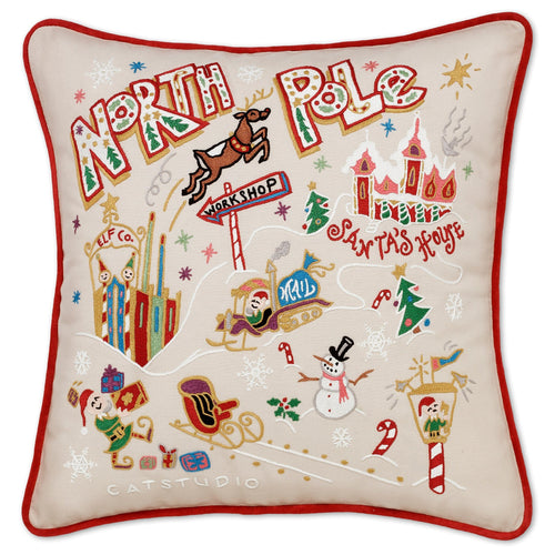 North Pole 1 Hand-Embroidered Pillow - catstudio