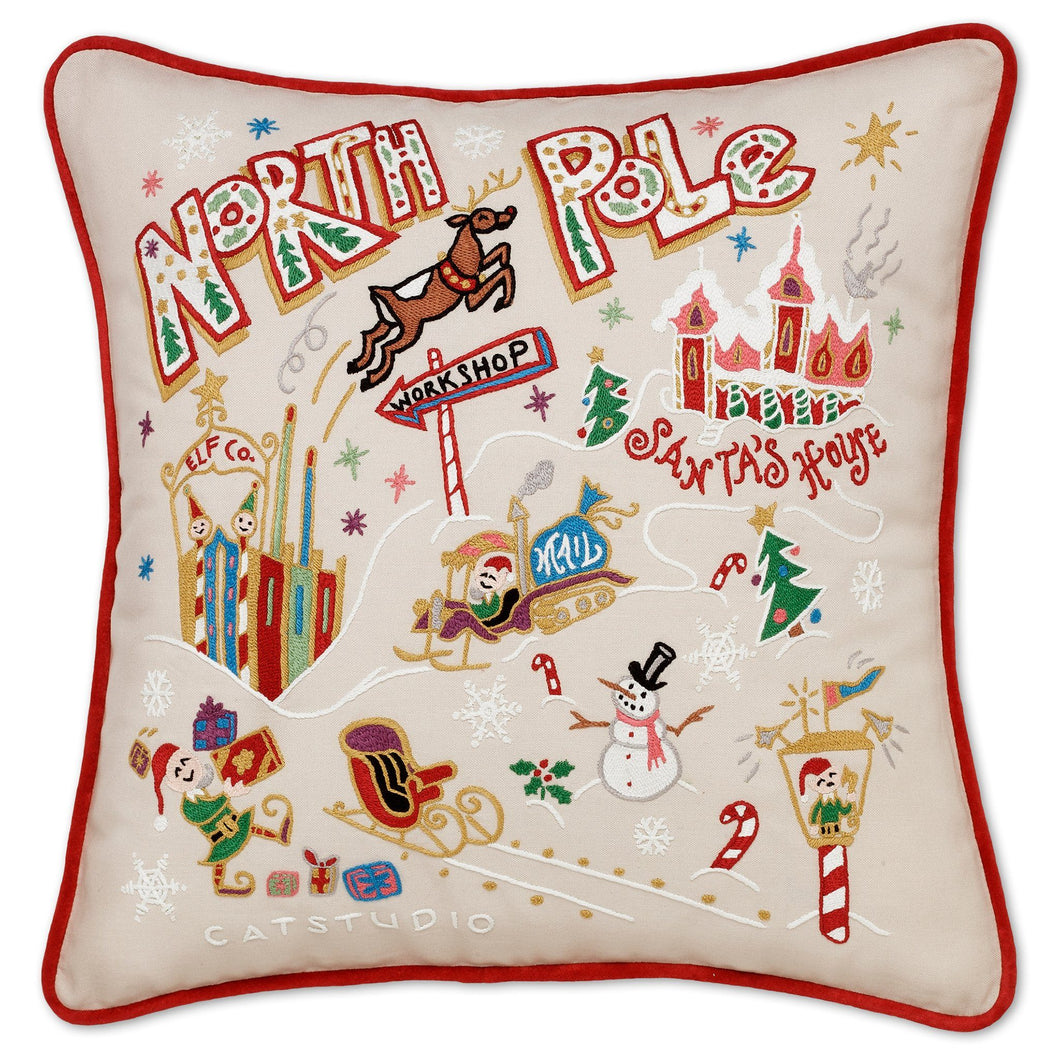 North Pole 1 Hand-Embroidered Pillow Pillow catstudio