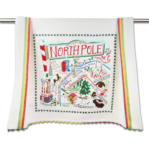 North Pole City Dish Towel - catstudio