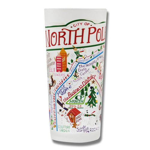 North Pole City Drinking Glass Glass catstudio