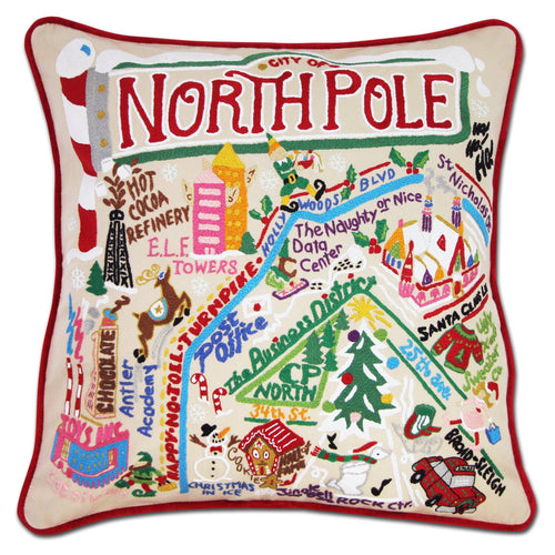 North Pole City Hand-Embroidered Pillow - catstudio