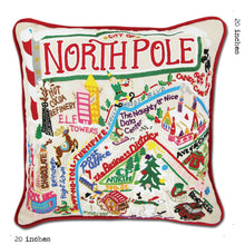 Load image into Gallery viewer, North Pole City Hand-Embroidered Pillow - catstudio