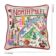 Load image into Gallery viewer, North Pole City XL Hand-Embroidered Pillow - catstudio