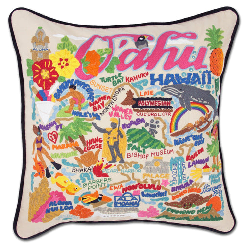 Oahu Hand-Embroidered Pillow - catstudio