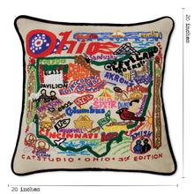 Load image into Gallery viewer, Ohio Hand-Embroidered Pillow - catstudio