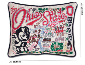 Ohio State University Collegiate Embroidered Pillow - catstudio