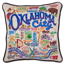 Load image into Gallery viewer, Oklahoma City Hand-Embroidered Pillow - catstudio