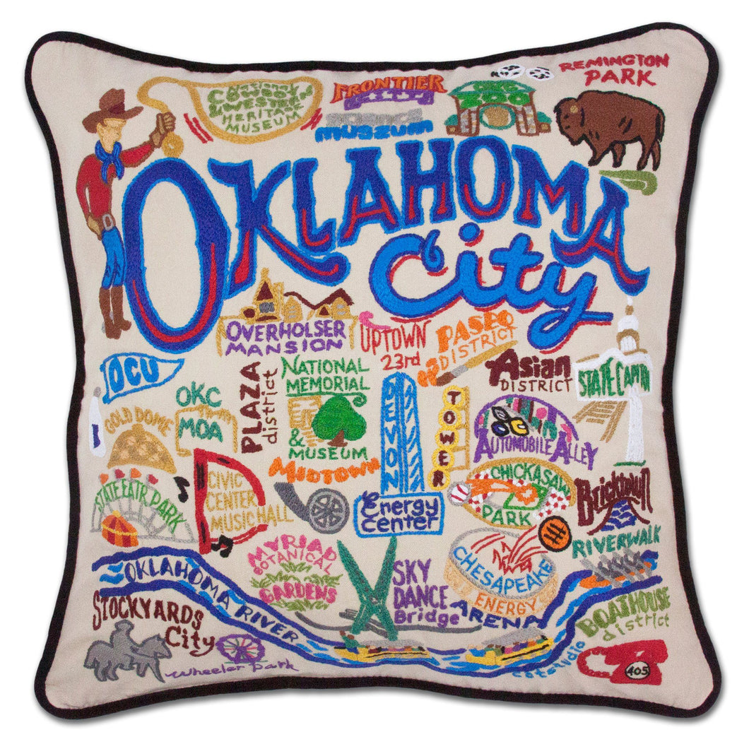 Oklahoma City Hand-Embroidered Pillow Pillow catstudio