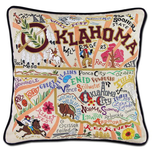 Oklahoma Hand-Embroidered Pillow - catstudio