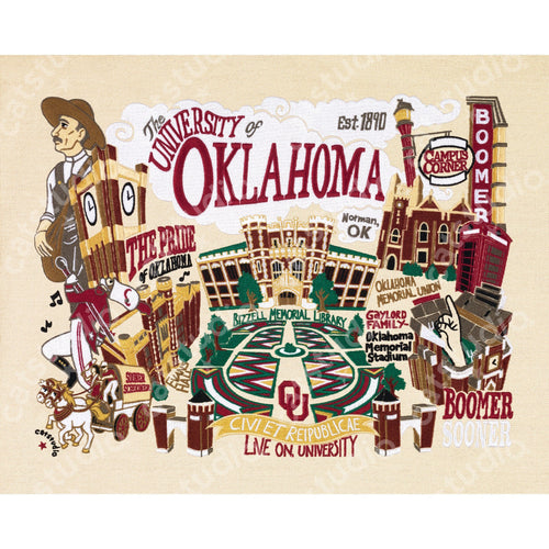 Oklahoma, University of Collegiate Fine Art Print - catstudio