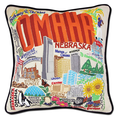 Omaha Hand-Embroidered Pillow Pillow catstudio