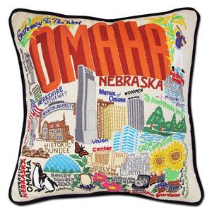 Omaha Hand-Embroidered Pillow - catstudio