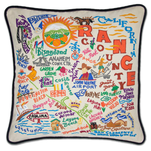 Orange County Hand-Embroidered Pillow - catstudio