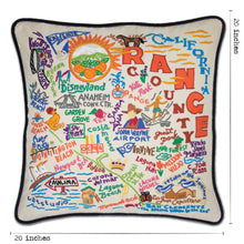 Load image into Gallery viewer, Orange County Hand-Embroidered Pillow - catstudio
