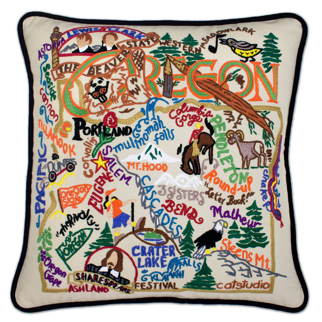 Oregon Hand-Embroidered Pillow Pillow catstudio