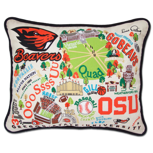 Oregon State University Collegiate Embroidered Pillow - catstudio