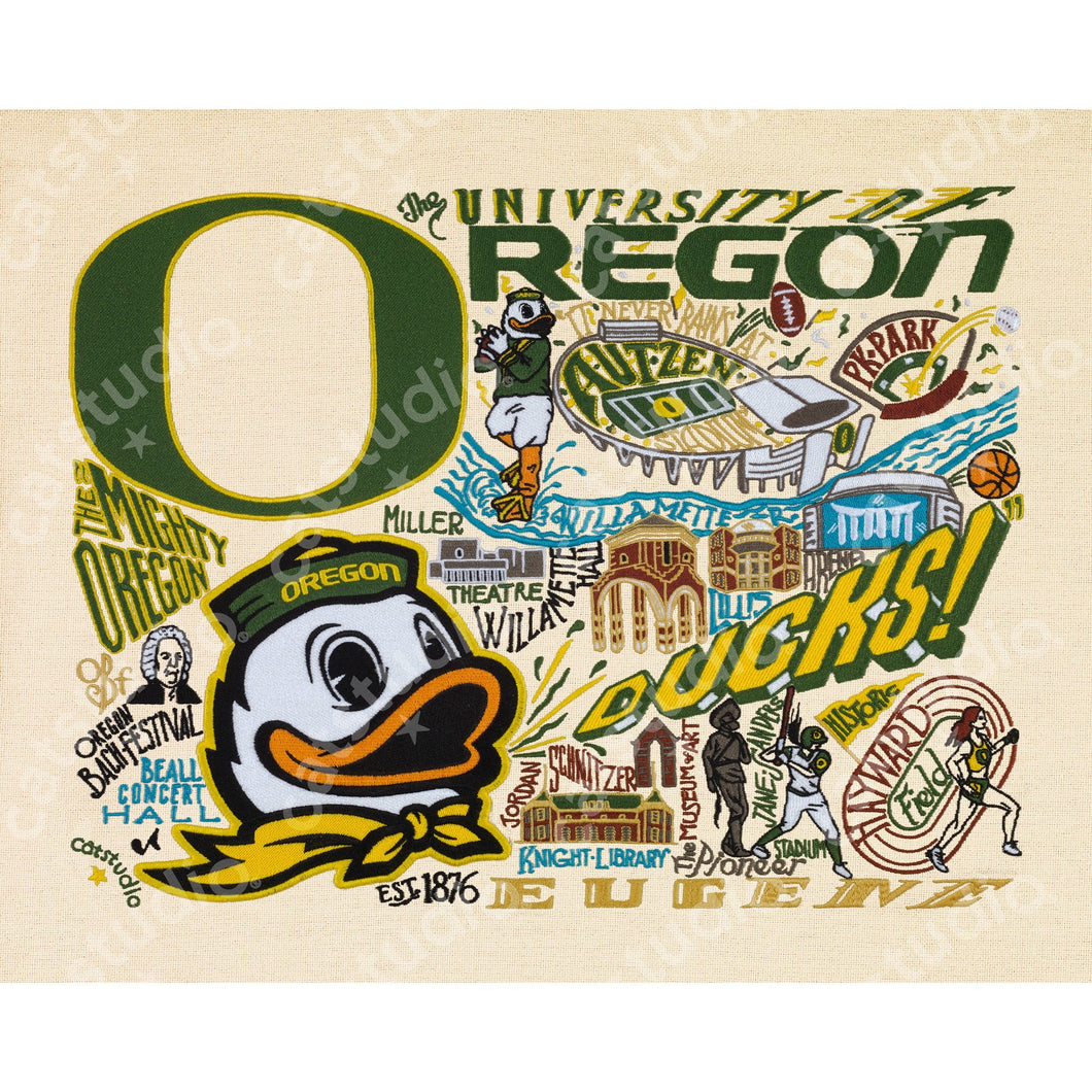 Oregon, University of Collegiate Fine Art Print - catstudio