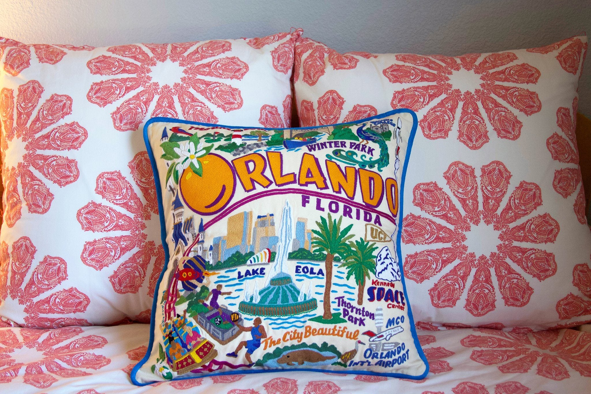 Orlando Hand-Embroidered Pillow | Florida Collection by