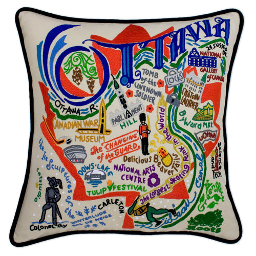 Ottawa Hand-Embroidered Pillow - catstudio