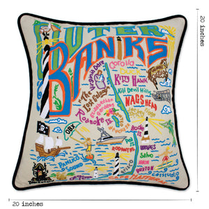 Outer Banks Hand-Embroidered Pillow - catstudio