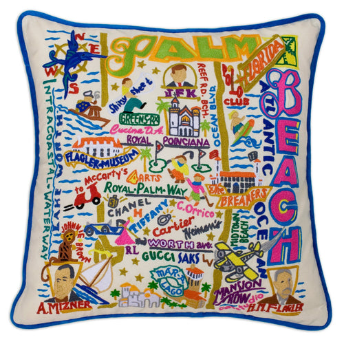 Palm Beach Hand-Embroidered Pillow Pillow catstudio