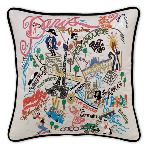 Paris Hand-Embroidered Pillow - catstudio