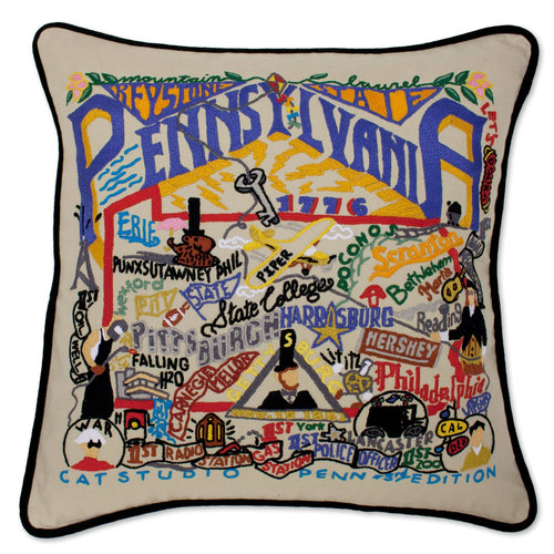 Pennsylvania Hand-Embroidered Pillow - catstudio