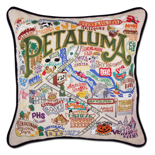 Petaluma Hand-Embroidered Pillow - catstudio