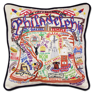 Philadelphia Hand-Embroidered Pillow - catstudio